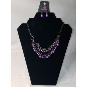 Watch me now purple necklace Pearly polished beads